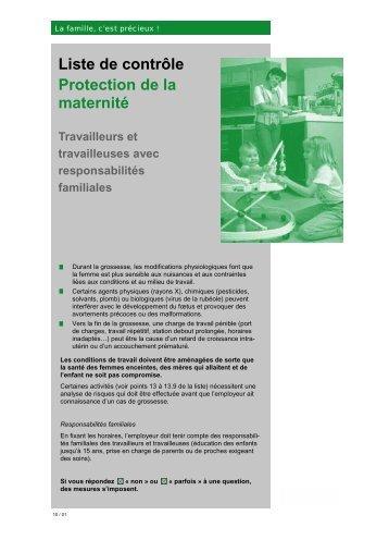 Liste de contrôle Protection de la maternité Travailleurs et - SB-SST