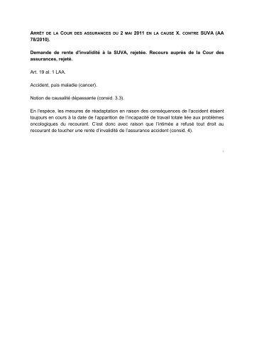 78/2010). Demande de rente d'invalidité à la SUVA, rejetée. Recours