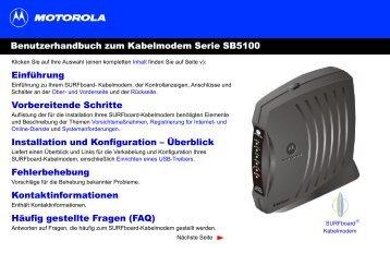 Benutzerhandbuch zum Kabelmodem Serie SB5100 Einführung ...