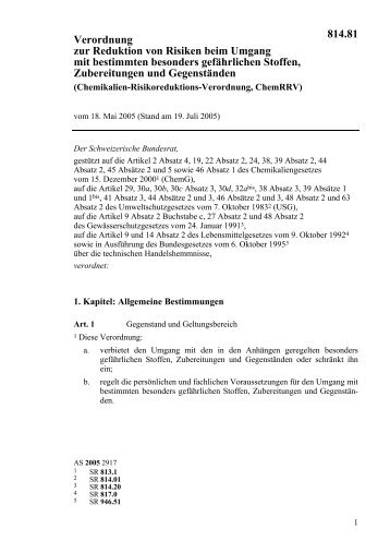 Risikoreduktions-Verordnung, ChemRRV (Ex. Stoffverordnung)