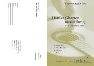 Hanika Gitarren- ausstellung bis 5. September 2009 - Jecklin & Co. AG