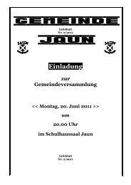 Einladung zur Gemeindeversammlung