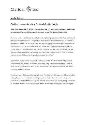 Media Release Clariden Leu Appoints New Co-Heads for North Asia