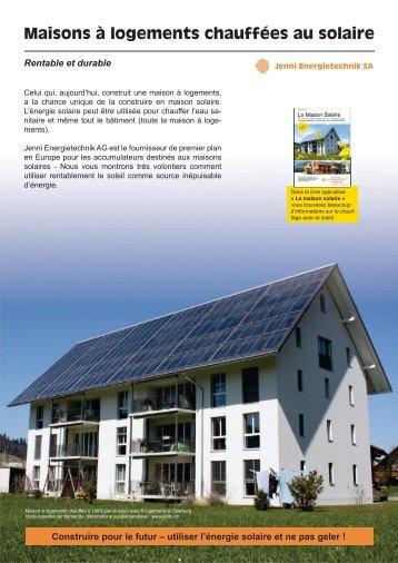 Maisons à logements chauffées au solaire - Jenni Energietechnik AG