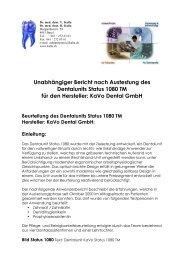 Unabhängiger Bericht nach Austestung des Dentalunits Status 1080 ...