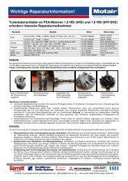 Wichtige Reparaturinformation! - Motair Turbolader