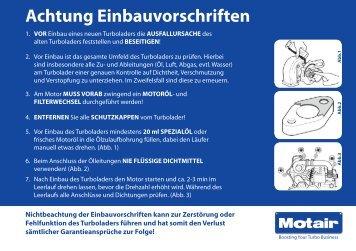 Achtung Einbauvorschriften - Motair Turbolader