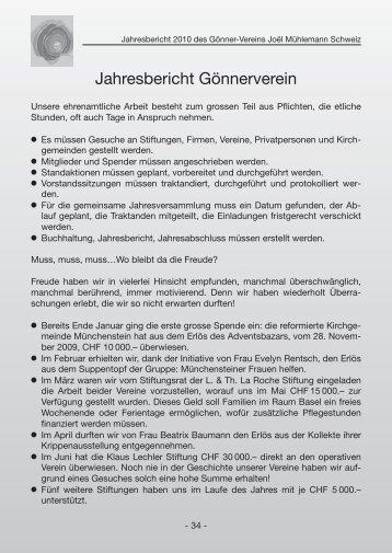 Jahresbericht Gönnerverein - Verein Joël Mühlemann Schweiz