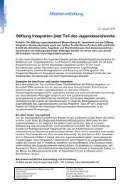 Stiftung Integration jetzt Teil des ... - Jugendsozialwerk CH