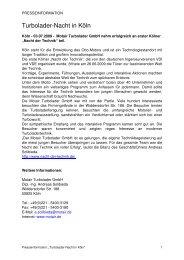 Pressemitteilung Nacht der Technik - Motair Turbolader
