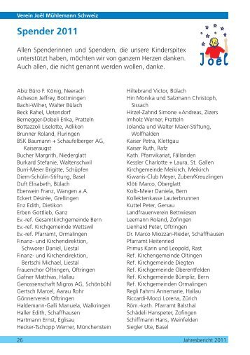Spender 2011 - Verein Joël Mühlemann Schweiz