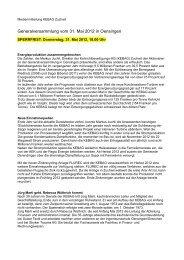 Medienmitteilung zur Generalversammlung vom 31. Mai 2012 - Kebag