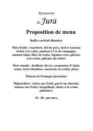 Proposition de menu Buffet froid Saumon ... - Jura Gourmand