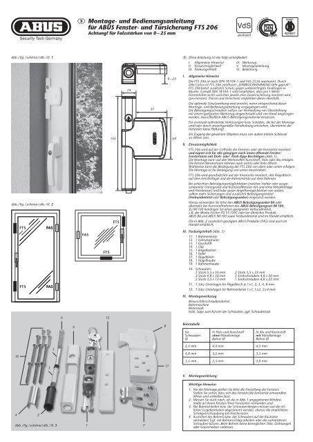 D Montage- und Bedienungsanleitung für ABUS Fenster- und ...