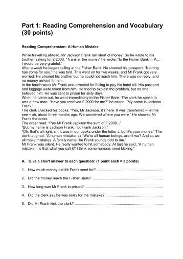 part one reading comprehension 15 pts Tutoring support services/ harford community college/ summer 2011 accuplacer reading comprehension practice part i for the first part of the reading comprehension practice, read the following paragraph.
