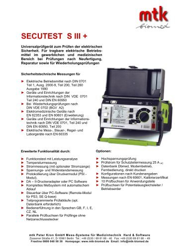 SECUTEST S III + - MTK Peter Kron GmbH