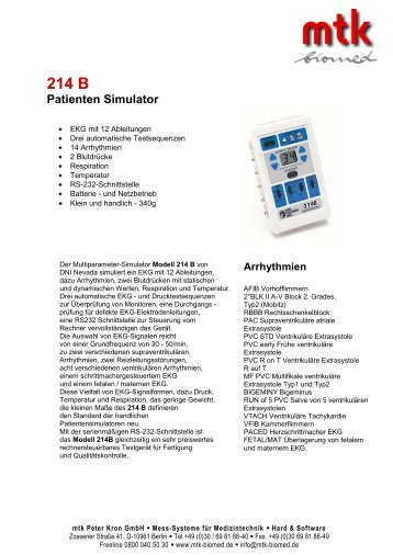 214 B Patienten Simulator - MTK Peter Kron GmbH