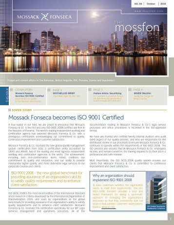 Mossack Fonseca becomes ISO 9001 Certified