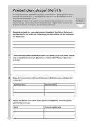 Wiederholungsfragen Metall 9. Jahrgangsstufe - ISB