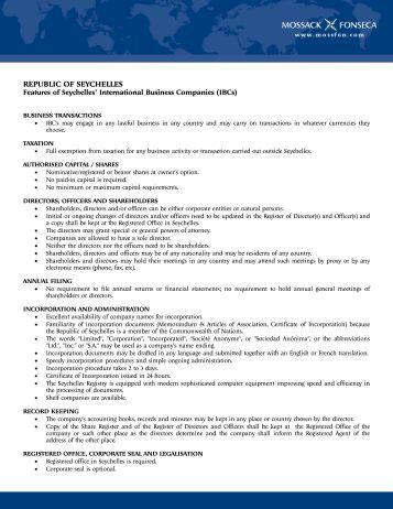 REPUBLIC OF SEYCHELLES - Mossack Fonseca  & Co.