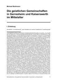Die geistlichen Gemeinschaften in Gerresheim und Kaiserswerth im ...