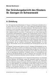 Der Gründungsbericht des Klosters St. Georgen im Schwarzwald
