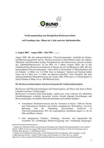 1 Forderungskatalog zum ökologischen Hochwasserschutz Auf ...
