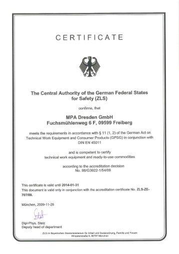 CERTIFICATE - MPA Dresden GmbH