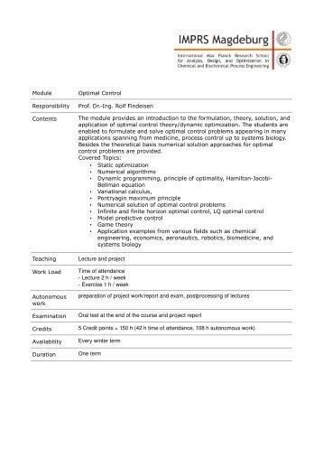 Module Optimal Control Responsibility Prof. Dr.-Ing. Rolf Findeisen ...