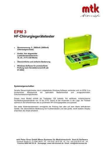 EPM 3 HF-Chirurgiegerätetester - MTK Peter Kron GmbH