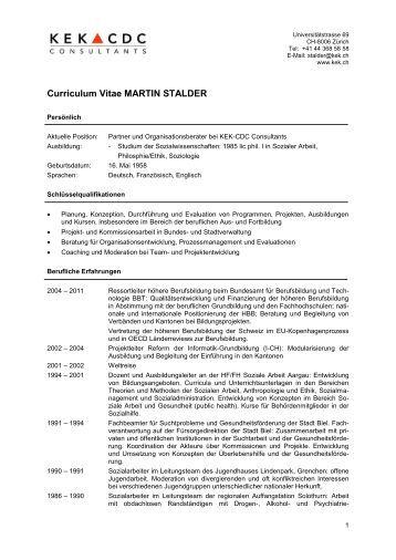 lebenslauf martin stalder kek cdc consultants - Lebenslauf Abgebrochenes Studium