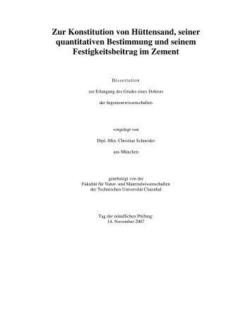 Zur Konstitution von Hüttensand, seiner quantitativen ... - GBV