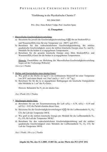 """""""Einführung in die Physikalische Chemie I"""""""