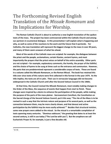 The Forthcoming Revised English Translation of the Missale ...