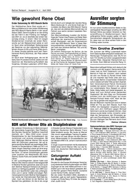 Wie Gewohnt Rene Obst Berliner Radsport Verband E V