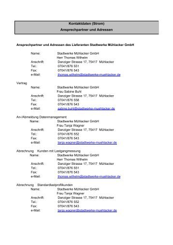 Kontaktdaten (Strom) Ansprechpartner und Adressen
