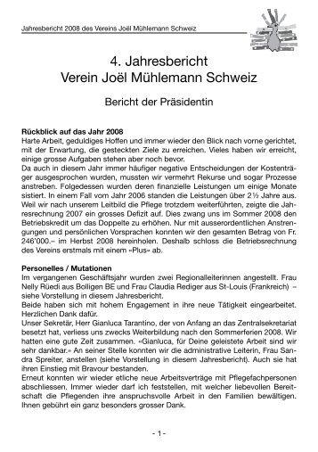 4. Jahresbericht Verein Joël Mühlemann Schweiz