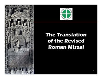 The Translation of the Revised Roman Missal - Diocese of Paterson