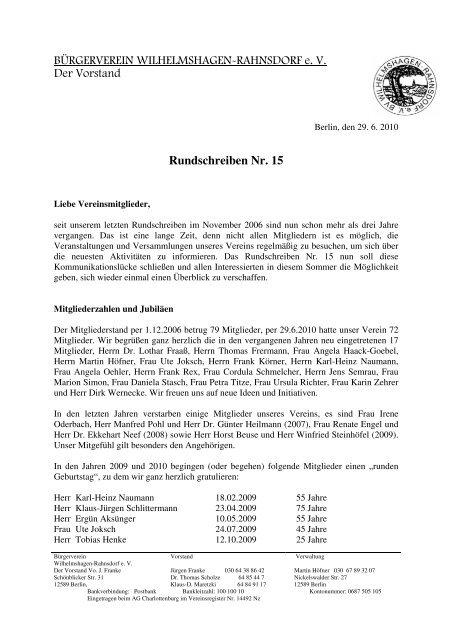 Burgerverein Wilhelmshagen Rahnsdorf E V Der
