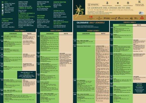 calendario daily schedule le giornate del cinema muto