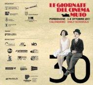 Calendario Giornate del Cinema Muto 2011 - La Cineteca del Friuli
