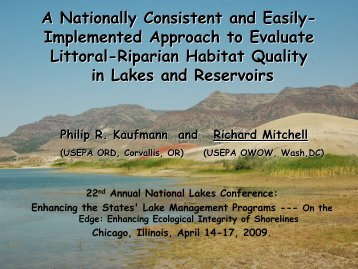 Lakeshore and Littoral Physical Habitat approach used in EMAP ...