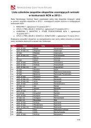 Alfabetyczna lista ekspertów - Narodowe Centrum Nauki