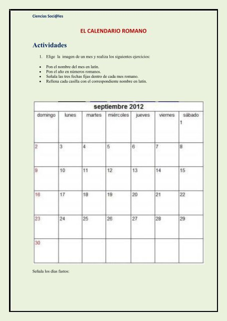 Calendario Romano.Ciencias