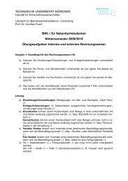 Übungsaufgaben - Lehrstuhl für Betriebswirtschaftslehre – Controlling