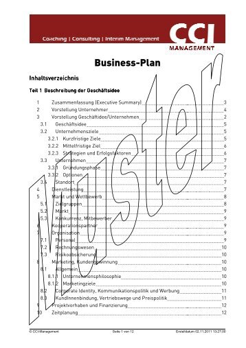 businessplan muster - Businessplan Muster
