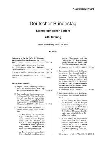 Stenographischer Bericht 248. Sitzung - Deutscher Bundestag
