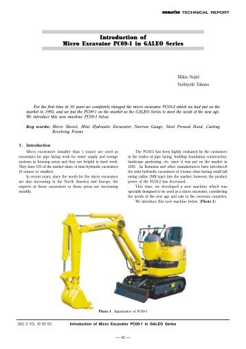 Introduction of Micro Excavator PC09-1 in GALEO Series - Komatsu