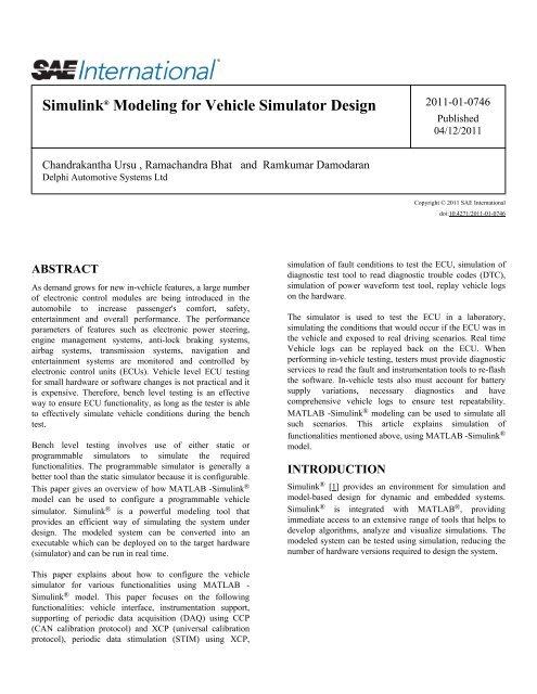Simulink Modeling For Vehicle Simulator Design Delphi