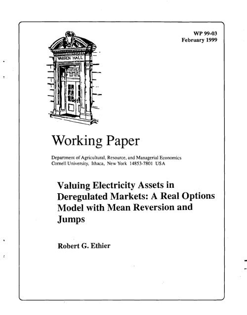 Valuing Electricity Assets in Deregulated Markets - Department of ...